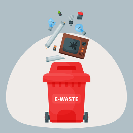 e waste: Recycling garbage elements trash tires management industry utilize e-waste can illustration.