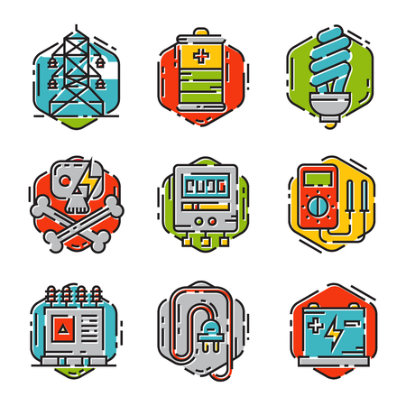 Energy outline colorful style and resource icon set vector illustration electricity industrial current. Imagens - 76422410