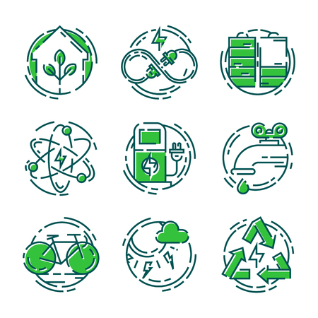 Green ecology energy conservation icons and outline style ecological world power illustration.