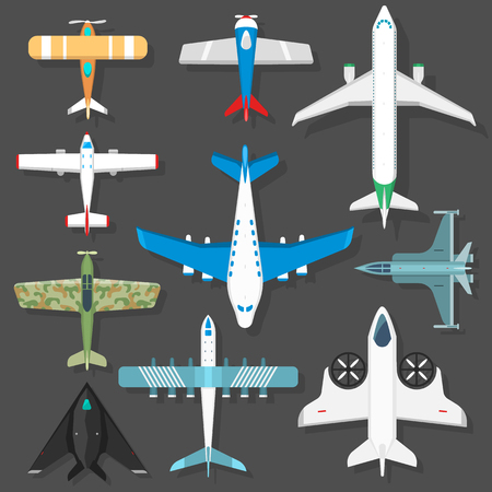 Aircraft different plains top view illustration