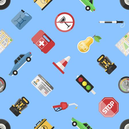 Auto transport motorist icon symbol vehicle equipment service car driver tools vector illustration seamless pattern