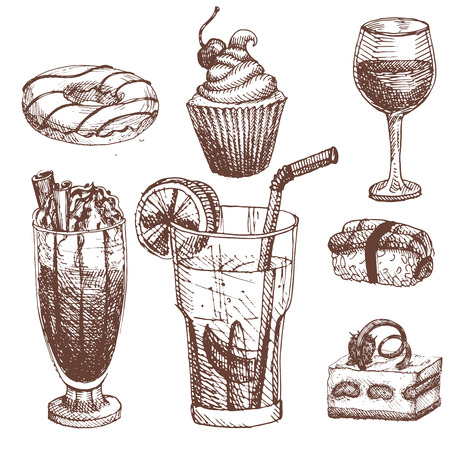 Hand drawn food sketch for menu restaurant product and doodle meal cuisine vector illustration.
