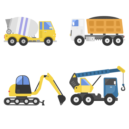 Construction delivery truck transportation vehicle mover road machine equipment vector. Stock Vector - 76631739