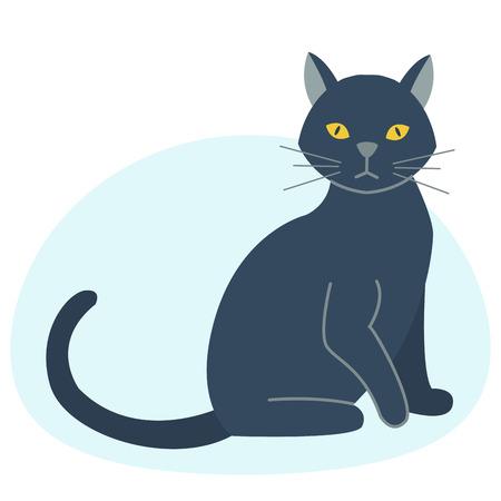 Cute black cat character funny animal domestic kitten pet feline portrait vector illustration. Illustration