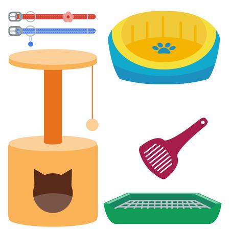Kleurrijke kat accessoire schattige vector dier pictogrammen huisdieren apparatuur voedsel binnenlandse katachtige illustratie.