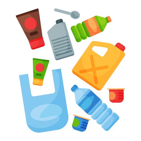 Recycling vuilnis plastic elementen afval banden management industrie gebruiken afval kan vectorillustratie. Stock Illustratie