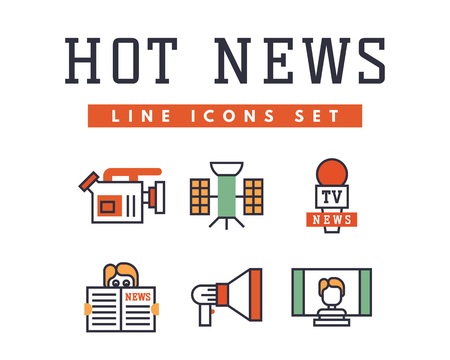Hot news icons flat style colorful set websites mobile and print media newspaper communication concept internet information vector illustration. Illusztráció