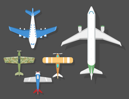 fuselage: top view airplanes icon illustration. Illustration
