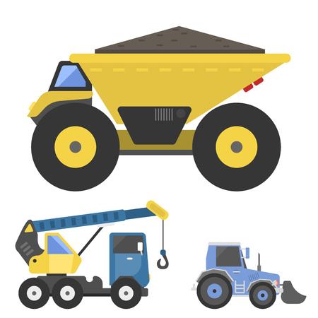 Construction delivery trucks icon illustration.