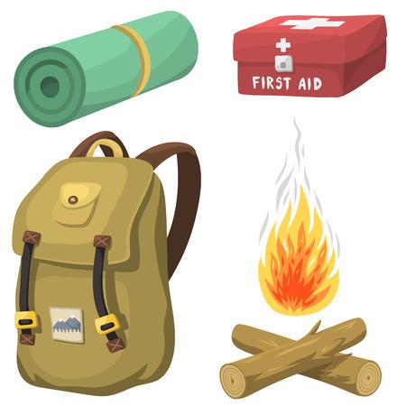 Hiking camping equipment icon illustration. Illustration