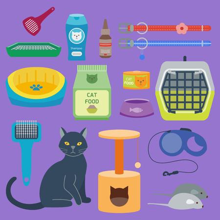 Colorful cat accessories icon illustration.