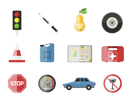 motorist: Auto transport motorist icon symbol vehicle equipment service car driver tools vector illustration.