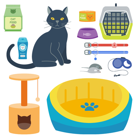 cat carrier: Colorful cat accessory cute vector animal icons pet equipment food domestic feline illustration.