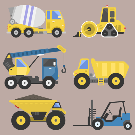 excavate: Construction delivery truck transportation vehicle mover road machine equipment vector.