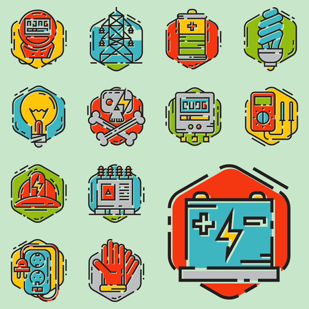 Energy outline colorful style and resource icon set vector illustration electricity industrial current. Imagens - 76607084