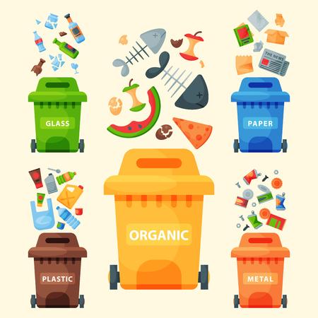 Reciclaje de elementos de basura bolsas de basura la industria de gestión de neumáticos utilizar la basura puede ilustración vectorial.