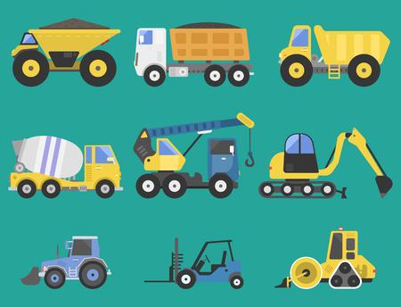 建設配信トラック輸送車両 mover 道路機械装置ベクトル。  イラスト・ベクター素材