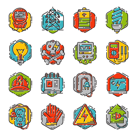 Energy outline colorful style and resource icon set vector illustration electricity industrial current.