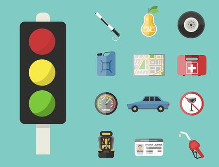 Auto transport motorist pictogram symbool voertuiguitrusting service auto bestuurder gereedschap vector illustratie.