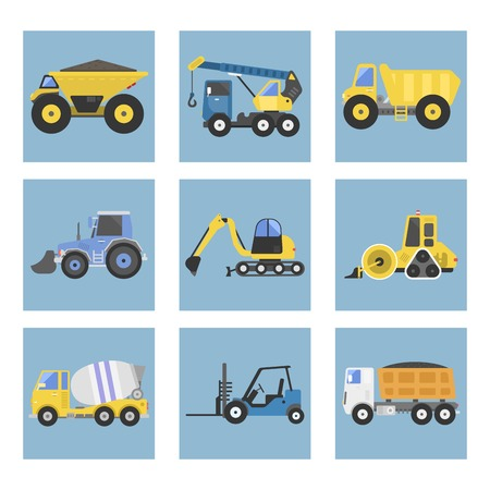 Construction delivery truck transportation vehicle mover road machine equipment vector. Stock Vector - 76999399