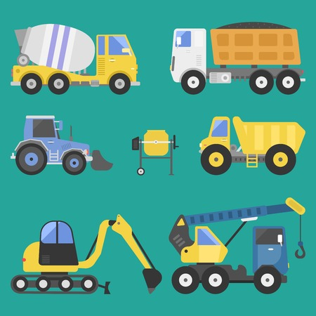 Construction delivery truck transportation vehicle mover road machine equipment vector. Stock Vector - 76997621