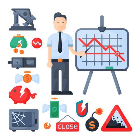 Crisis symbolen concept probleem economie bankwezen financiën ontwerp investering pictogram vector. Stock Illustratie