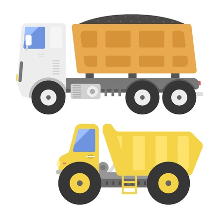Dump truck construction delivery truck transportation vehicle mover road machine equipment vector.