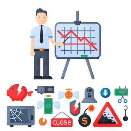 Symbole de crise concept problème économie bancaire affaires conception de financement icône d'investissement vecteur.