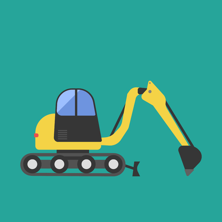 Construction tractor transportation vehicle mover road machine equipment vector.