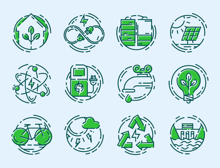 hydro electric: Green ecology energy conservation icons and outline style ecological world power vector illustration.