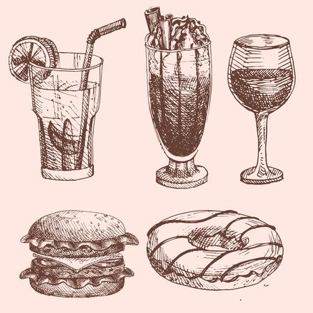 メニュー レストラン製品や落書き食事料理ベクトル図の手描き下ろし食品スケッチ。  イラスト・ベクター素材