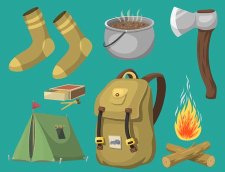 캠핑 장비 기본 캠프 장비 및 액세서리 야외 만화 여행 벡터 일러스트 레이 션을 하이킹. 일러스트