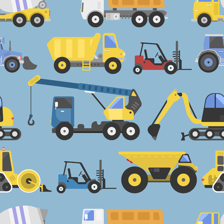 Construction equipment seamless pattern machinery with trucks flat yellow transport vector illustration