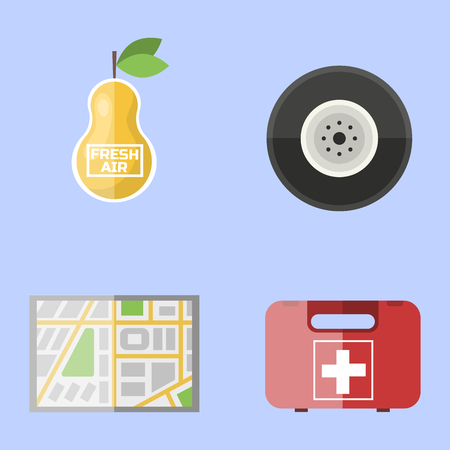 car care center: Auto transport motorist icon symbol vehicle equipment service car driver tools vector illustration.