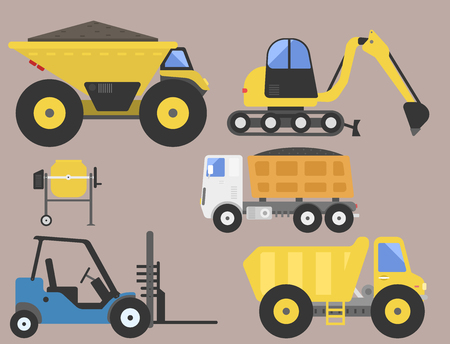 Construction delivery truck transportation vehicle mover road machine equipment vector. Stock Vector - 77035918