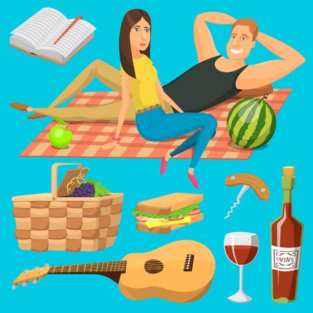 ピクニック プラッド バーベキュー屋外アイコン ロマンチックな夏のピクニック料理の大人のカップルはベクトル イラストです。