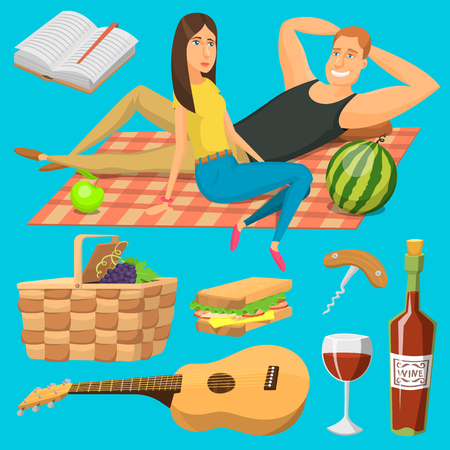 Adult couple on picnic plaid barbecue outdoor icons romantic summer picnic food vector illustration. Illustration