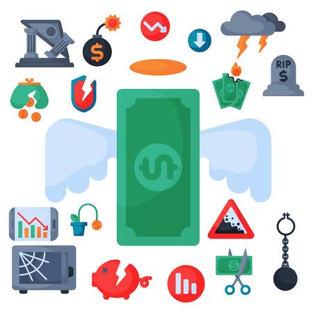 Crisis symbols concept problem economy banking business finance design investment icon.