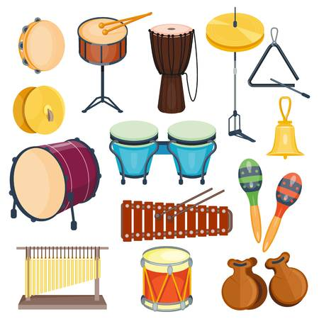 Percussion musical instruments flat style isolated.