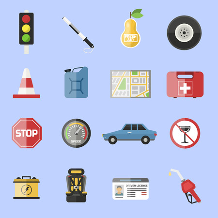 Auto transport motorist icons symbol vehicle equipment service car vector illustration.