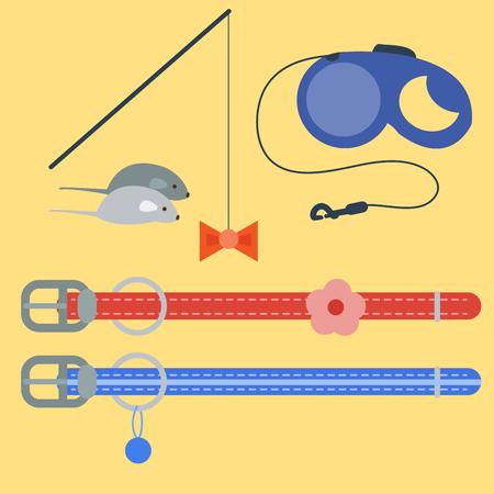 Colorful cat accessory cute vector animal icons pet equipment food domestic feline illustration.