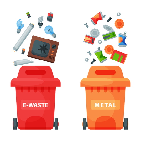 Recycling garbage elements trash bags tires management industry utilize waste can vector illustration. Illustration