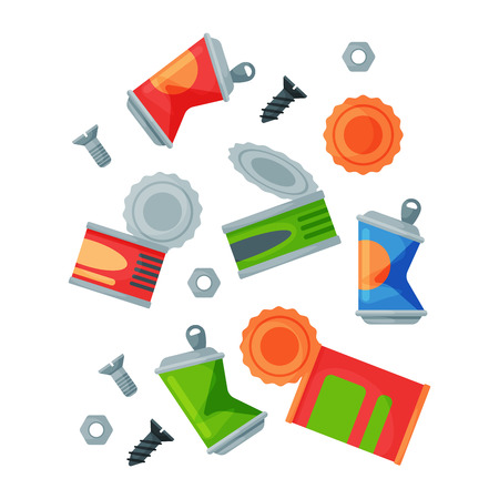 Recycling garbage metal elements trash bags tires management industry utilize waste can vector illustration.