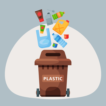 Recycling garbage plastic elements trash tires management industry utilize waste can vector illustration.