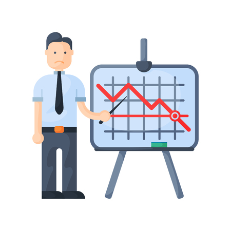 Crisis man concept problem economy banking character business arrow finance icon vector.