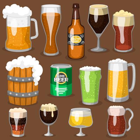 Bière alcool illustration vectorielle brasserie alcool et verre sombre boisson boisson gazeuse bouteille d & # 39 ; alcool Banque d'images - 77513056