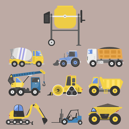 Construction delivery truck transportation vehicle mover road machine equipment vector. Stock Vector - 77463972