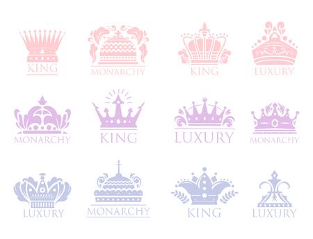 Crown king vintage premium badge heraldic ornament luxury kingdomsign vector illustration.