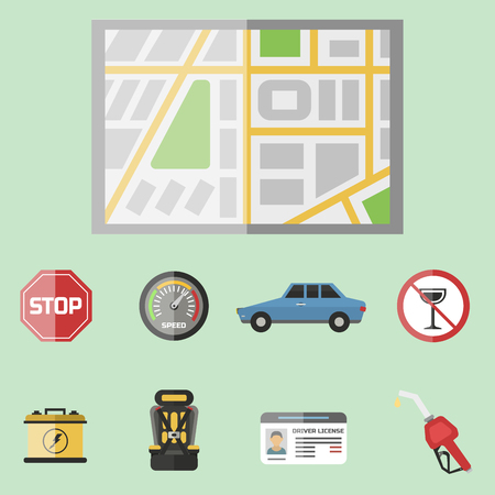 Auto vervoer automobilist pictogram symbool voertuig apparatuur service auto bestuurder tools vector illustratie. Stockfoto - 77468892