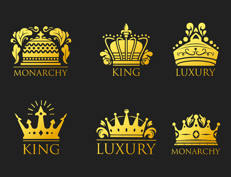 Crown king vintage premium golden badge heraldic ornament luxury kingdom sign vector illustration. Stock Vector - 77468904